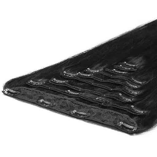 Deluxe Clip In Extensions 50cm 200g 1B Natürliches Schwarz-0