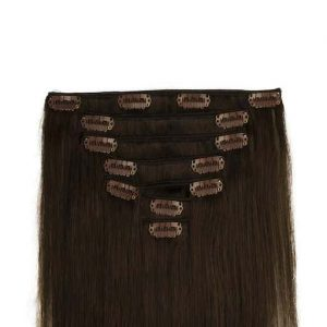 Clip in Extensions 60cm 160g Dunkel Braun 02-0